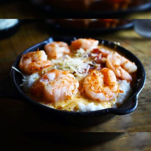 Shrimp and Grits at Two Cracked Eggs Cafe